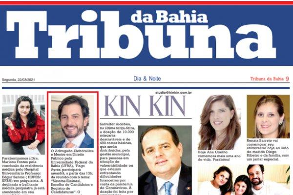 Tiago Ayres é destaque no Jornal Tribuna da Bahia