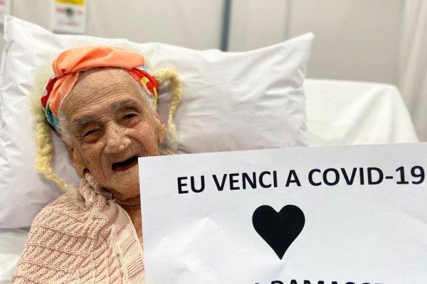 [Idosa de 95 anos recebe alta após se recuperar da Covid-19]