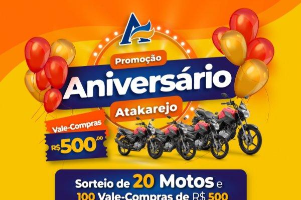 [Atakadão Atakarejo comemora aniversário com sorteios de motos e vale-compras]